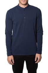 7 Diamonds Men's 'Wembley' Long Sleeve Collarless Jersey Polo Blue