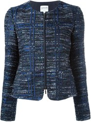 Armani Collezioni Zip Up Tweed Jacket Blue