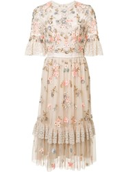 Needle And Thread Floral Embellishment Sheer Dress Nude Neutrals