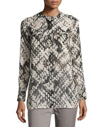 Vince Relaxed Graphic Print Silk Top White Black