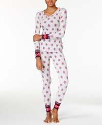 Lucky Brand Printed Thermal Pajama Gift Set Ivory Stamps