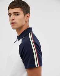 Celio Jersey Polo With Sleeve Taping In White