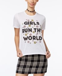 Mighty Fine Juniors' Girls Run The World Graphic T Shirt White