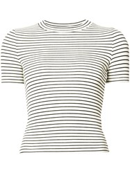 Getting Back To Square One Striped T Shirt Women Spandex Elastane Viscose L Black