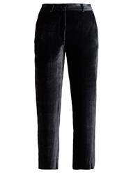 Sies Marjan Willa Cropped Silk Blend Velvet Trousers Dark Grey