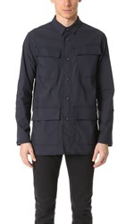 White Mountaineering Stretch Military Shirt Navy