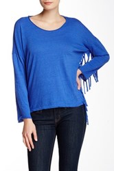 Nation Ltd. Priscilla Fringe Sweatshirt Blue