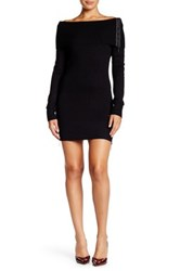 Coco And Tashi Ribbed Cowl Neck Zip Up Long Sleeve Sweater Dress Black