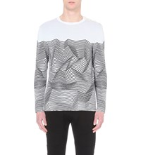 Neil Barrett Striped Knitted Jumper White Black
