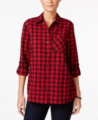 Styleandco. Style Co. Plaid Roll Tab Shirt Only At Macy's Red