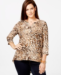 Harper And Liv Plus Size Three Quarter Sleeve Animal Print Top