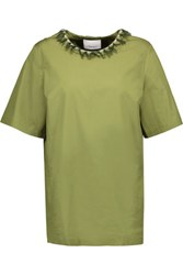 3.1 Phillip Lim Bead And Tassel Embellished Cotton Top Leaf Green