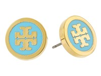 Tory Burch Lacquered Logo Studs Earrings Turquoise Gold Earring Blue