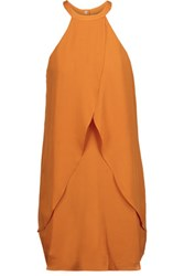 A.L.C. Shane Draped Silk Crepe De Chine Mini Dress Orange