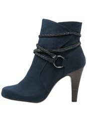 Tamaris High Heeled Ankle Boots Navy Dark Blue
