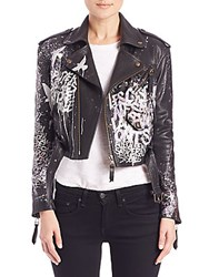 Faith Connexion Tagged Leather Moto Cropped Jacket Black