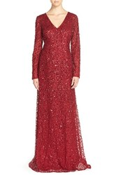 Petite Women's Adrianna Papell Long Sleeve Beaded Evening Gown Cranberry