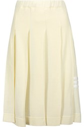 Y 3 Adidas Originals Pleated Cotton And Modal Blend Pique Skirt Cream