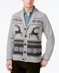 Weatherproof Reindeer Jacquard Shawl Collar Cardigan Med Grey Heather