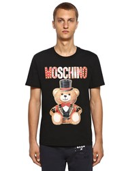 Moschino Printed Glitter Teddy Cotton T Shirt Black