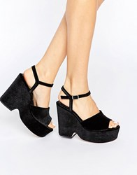 Asos Horatio Velvet Wedges Black Velvet
