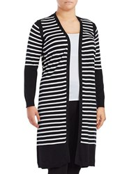 Vince Camuto Plus Striped Colorblocked Cardigan Black White