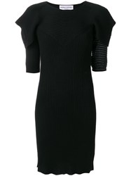 Sonia Rykiel Fitted Knit Dress Polyester Viscose Wool Xl Black