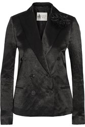 Lanvin Double Breasted Linen Blend Sateen Blazer Black
