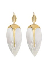 Aurelie Bidermann Aurelie Bidermann Talitha 18Kt Gold Plated Earrings With Mother Of Pearl White