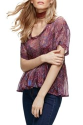 Free People Say You Will Paisley Shirt Purple