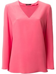 Etro V Neck Blouse Pink And Purple