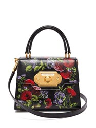 Dolce And Gabbana Welcome Mini Floral Painted Leather Bag Black Multi