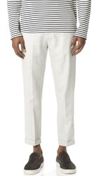 Vince Relaxed Linen Cropped Trousers Whisper White