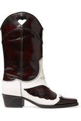 Ganni Marlyn Two Tone Embroidered Leather Cutout Boots Dark Brown