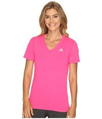 Adidas Ultimate S S V Neck Tee Shock Pink Matte Silver 2 Women's T Shirt Shock Pink Matte Silver 2