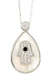 18K White Gold Plated Sterling Silver Cz And Mother Of Pearl Hamsa Teardrop Pendant Necklace Metallic