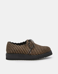 Ymc Leather Lace Up Flat Shoes Houndstooth