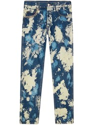 Gucci Bleached Denim Punk Pants Men Cotton Metal 31 Blue