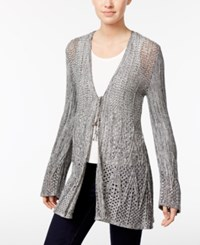 Style And Co Co. Open Knit Tie Front Cardigan Only At Macy's Deep Black Warm Ivory