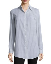 Michael Kors Striped Button Front Shirt Chocolate