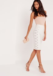 Missguided Premium Mesh Panel Side Midi Bandage Pencil Skirt White White