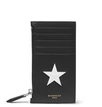 Givenchy Star Embossed Leather Card Holder Black
