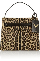 Valentino My Rockstud Leopard Print Calf Hair And Suede Tote