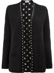 Saint Laurent Studded Trim Cardigan Black