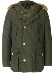 Woolrich Fur Trimmed Hooded Coat Cotton Feather Down Polyamide Coyote Fur M Green