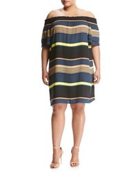Chelsea And Theodore Plus Tiered Sleeve Off The Shoulder Dress Multi