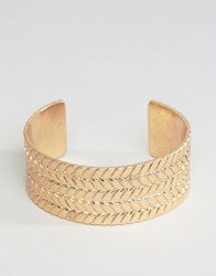 Asos Plaited Bangle In Gold Gold