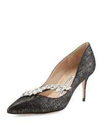 Manolo Blahnik Nadira Jeweled Mirror Suede Pump Black Glo Blk Suede Sil