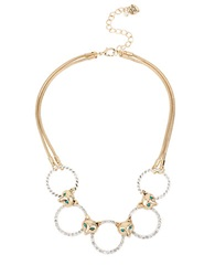 Betsey Johnson Fox And Pave Ring Necklace Gold