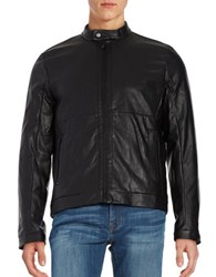 Calvin Klein Perforated Faux Leather Item Jacket Black